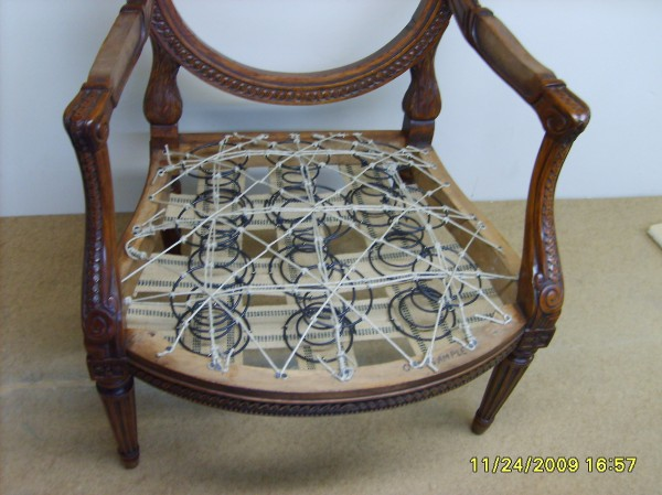 Chair with basic wire frame for support